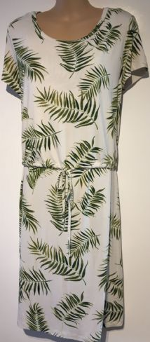 H&M MAMA WHITE LEAF PRINT MATERNITY/NURSING DRESS SIZE L 14-16